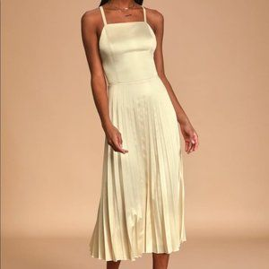 Lulu's Give us a Twirl Champagne Satin Midi Dress